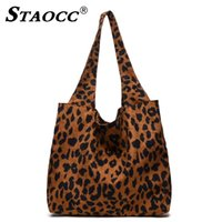 leopard tote оптовых-STAOCC Corduroy Leopard Handbag Women Shoulder Bag Female Large Tote Bag Casual Lady Bucket Bags Shopping Beach Bags Sac A Main