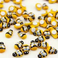 Wholesale ladybug bee - 100PCS Lot Mini Bee Wooden Ladybug Sponge Self-adhesive Stickers Fridge Wall Sticker Kids Scrapbooking Baby Toys
