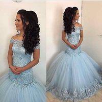 Wholesale Grace Pictures - Grace 2018 Sky Blue Mermaid Lace Prom Dresses Off Shoulder Appliques Sweet 16 Tulle Plus Size Long Evening Party Gowns