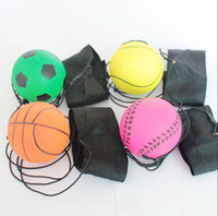 Wholesale toy bouncy balls online - 63mm Bouncy Fluorescent Rubber Ball Wrist Band Ball Board Game Funny Elastic Ball Training Antistress Toy OOA4870