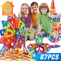 brinquedos educativos blocos de construção magnéticos venda por atacado-Minitudou mini 67 pcs construtor magnético designer de brinquedos para meninos meninas blocos de construção 3d educacional diy tijolos para crianças