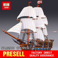 Wholesale building blocks pirate ship - NEW LEPIN 22001 Pirate Ship warships Model Building Kits Block Briks Boy Educational Toys Model Gift 1717pcs Compatible 10210