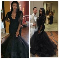 Wholesale red carpet dresses for girls resale online - 2018 Slim V Neck Black Lace Mermaid Evening Dresses Sheer Long Sleeves Appliques Elegant Prom Party Gowns for Black Girl