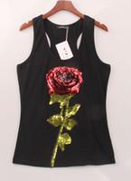ingrosso donne di fiori senza maniche-Magliette da donna sexy Magliette estive per donna T-shirt nera con fiore rosa bianco con paillettes S-XL