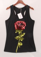 camisa de flores negras de las mujeres al por mayor-Sexy Woman Tops Camisetas de verano para mujer sin mangas lentejuelas negro flor blanca Rose camisetas S-XL