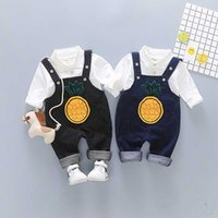 Wholesale baby boy shirt pants suspenders - Boys Suspender Pants Shirt Suits Two-piece Clothing Sets Baby Boy Twinsets Baby Kids Tirantes Cotton Pineapple Cartoon Print 1-4T
