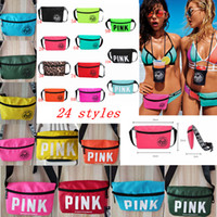 Wholesale Fashion Waist Packs - 24 styles Pink Beach Waist Bag Travel Pack Fanny Collection handbag Fashion Girls Purse Bags Outdoor Cosmetic Bag FFA324 30PCS