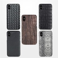 Wholesale Carbon Fiber Weave - For iPhone X 8 7 6S Plus Snake Woven Carbon Fiber Wood PU Leather Pattern Hard Case Cover for Samsung Galaxy Note 8 5 S6 E
