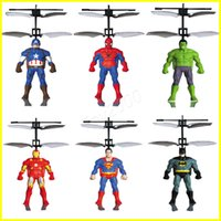 Wholesale fly america - RC Helicopter RC infrared Induction Captain America Hulk Spider-Man aircraft RC flying ball flying toys kids toys Led toys send by EMS