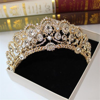 Wholesale baroque wedding dresses resale online - Baroque Crystal Crown Greek goddess art retro hair accessories bridal wedding jewelry wedding dress studio tiara crown molding