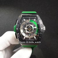 titanium watch case 2018 - New Saratoge Skafander Big Size Japan Miyota Autoamtic SKF 46 DV SC DT Skeleton Dial Mens Watch Two Tone Titanium Case Green Rubber Strap