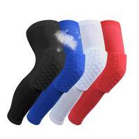 basketbol dizlik yastıkları toptan satış-2019 Marka emniyet basketbol diz Pedleri Yetişkin Nemli Yerleşimler için petek ped Bacak diz desteği buzağı sıkıştırma dizkapağı bisiklet diz koruyucu R09