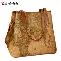 ingrosso sacchetti mappa-Donne borse in pelle pu vintage stampa map bag signore Nuove borse famose donne di marca Bolsas borsa a tracolla donna W16-86 D18102906