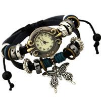 bonitos braceletes grandes venda por atacado-CHAOMO doce bonito estilo de jóias por atacado moda temperamento selvagem grande borboleta pulseira de couro pulseira do relógio do vintage