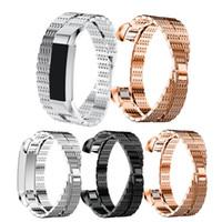 ingrosso braccialetto d'argento doppio collegamento-Cinturino da polso in argento con doppio anello in acciaio inossidabile per Fitbit Alta HR Bands Smart Bracelet Wearable Chain Fashion Watchstraps