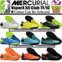 Wholesale club heels - New Original Mens Low Soccer Shoes Mercurial Vapor XII Club TF IC Indoor Football Boots CR7 Cristiano Ronaldo Soccer Cleats Turf Boots