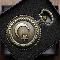 reloj de cuarzo de diseño vintage al por mayor-Vintage Estrella y Luna Diseño de la Bandera Turca de Cuarzo Reloj de Bolsillo Collar Hombres Mujeres Relojes Reloj Fob Reloj de Bronce Con Caja