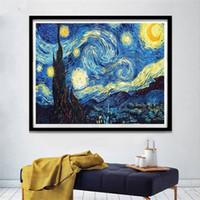 suspensão, parede, cruzes venda por atacado-Ponto Cruz 5D Pintura Diamante DIY Van Gogh Cenário Bordado Broca Cheia Pinturas A Óleo Kit de Arte E Artesanato Em Casa Parede Pendurado 12 jj