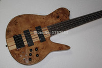 Wholesale fodera basses for sale - Group buy Natural Wood Burl pattern One Pc Neck Through EMG Active pickups Fodera Butterfly Strings Electric Bass Guitar