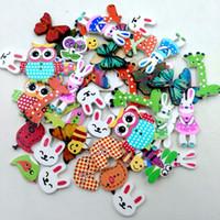 Wholesale pattern wood buttons resale online - 50pcs Animal Buttons Assorted Random Mix Pattern Cartoon Wood Sewing Buttons Scrapbooking