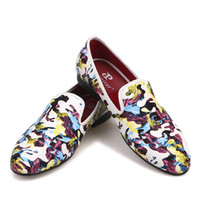 Wholesale handcrafted dress - 2018 New Design Handcrafted Multi-colors Tropical Camouflage Men's Casual Slipper men Loafer First Choice for Banquet