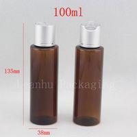 Wholesale brown pet plastic bottle resale online - 100ml X brown round empty PET cosmetic travel bottles with aluminum Disc top cap shampoo plastic bottle with lid amber vial