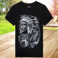 Wholesale moon shirt for sale - Men s Cool Three Wolf Moon Night American Indian Chief D Printed Pattern Short Sleeve T Shirts Black Mens T Shirt Summer O Neck C