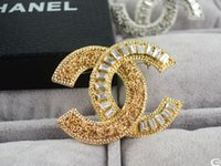 Wholesale brass rhinestone brooch for sale - 2019 new Letter Pearl Ball Brooch decorations Fashion Metal Letter diamond brooch Jewelry With Box