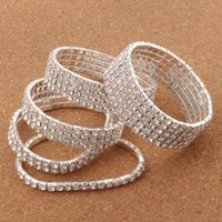"""Wholesale Clear Love Heart - 12pcs lot Clear Spring 2"""" Crystal Rhinestone Bracelets Tennis Silver Plated 2-Rows -10Row Hot sell Items Fashion Jewelry"""
