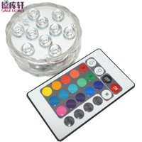 Wholesale battery operated led light base resale online - 4 set Led Submersible Light Battery Operated RGB chips Waterproof IP68 Vase Base Light Bright Lamp Blub Home Party Supplies