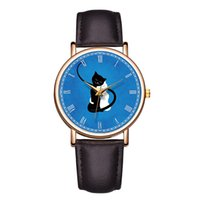 couro interessante venda por atacado-Baosaili Interessante Adorável Gato Rosto Azul Relógios Das Mulheres Relógio De Pulso Homem Casal Relógios Relógio De Couro Genuíno Relógio De Quartzo B-9203