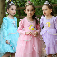 Wholesale cape ankle length dress resale online - 2018 Christmas gift Girl Princess dresses with cape costume stage Tutu dresses Long sleeve Blue purple Pink Free DHL