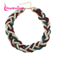 Wholesale multilevel necklace - whole saleKayshine New Coming Colorful Braided Rope Wide Multilevel Chain Necklace Female Fashion Jewelry