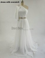 Wholesale Rhinestone Prom Gowns Evening - 2018 Sheath Evening Dresses with One Shoulder Cape Sash Bling Rhinestones Split African Belt Tulle Detachable Overskirt A-Line Prom Gowns