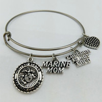 Wholesale Free State Steel - whole salemy shape United States Marine Mom Charm Bangle Stainless Steel Metal Expandable Wire military Bangle Freedom Is Not Free