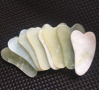 masaj sha toptan satış-Doğal Gua Sha Kurulu Yeşil Yeşim Taş Guasha Cure Akupunktur Masaj Aracı Vücut Yüz Gevşeme Güzellik Sağlık Aracı