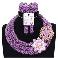 большие наборы ювелирных украшений оптовых-4UJewelry Nigerian Jewelry Sets For Women 2018 Purple Necklace Set Wedding Big Design Fine Costume Jewelry Set Free Shipping New