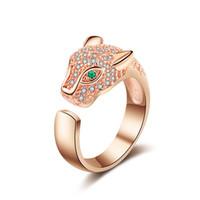 tierverzierungen großhandel-Leopard-Kopf-Diamant-Ring der Frauen, Art- und Weiselegierungs-Verzierungs-kreativer Tierkopf-Ring, silberne kreative Leopard-Kopfringe