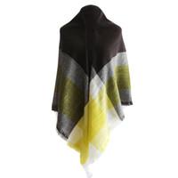 gran bufanda amarilla al por mayor-Bufanda caliente de invierno de las mujeres españolas cuadrado grande amarillo a cuadros mantón cálido Diseño de la vendimia manta envuelve mujeres bufandas y chales