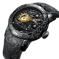 ручная скульптура оптовых-Men Mechanical Watch Top  Men's Gold Full Black Watches Creative 3D Sculpture Dragon Male Hand Wind Mens Wristwatch