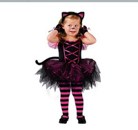 Wholesale girl suit dance costume - cosplay costumes for girl dress princess cat style dance dress suit with tail hair accessories kids Christmas dress EK105