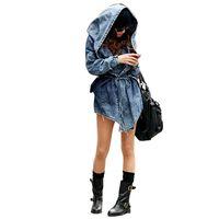ingrosso giacche jeans femmina-Cappotto jeans donna denim nuovi jeans femminili Cappotti Cappuccio Slim maniche lunghe vintage Plus Size Cappotto con cappuccio Roupas Capispalla