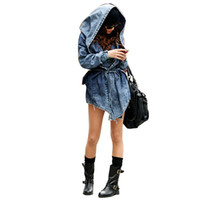 ärmel-jeansjacke plus größe großhandel-Frauen-Denim-Jeans-Mantel-Jacke Neue Weibliche Jeans Mäntel Weinlese-lange Hülsen-dünne Hoody Plus Size Mantel mit Kapuze Roupas Oberbekleidung