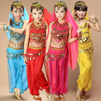 traje de dança do ventre de renda venda por atacado-Trajes de dança do ventre profissional sexy oriental meninas lace crianças traje danse orientale bellydance enfant vestido para crianças