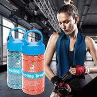 tela de microfibra deportiva al por mayor-2018 New Sports Towel Cooling Towel Microfiber Fabric Quick Dry Ice Cool Sweat Toalla Gym Cooling Washcloth 100x30cm Con paquete al por menor