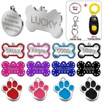 Wholesale personalized cat gifts - Engraved Pet Dog Tags Custom Cat ID Name Tags for Pets Personalized Paw Bone Shape FREE Gift S L