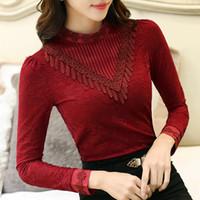 dantel iç çamaşırı toptan satış-Sonbahar Kış Moda Dantel Gömlek Casual Tops Kore Standı Yaka Uzun Kollu Bluz İnce Iç Çamaşırı Kadın Bluzlar 5 Renkler