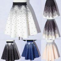 Wholesale Flared Mini Skirt High Waist - New Women's Fashion Boho High Waist Skirt Polka Dot Printed Skirt Big Swing Flare Party Vintage Mini Skirt