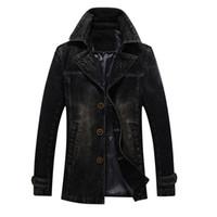 abrigo de invierno casual de negocios para hombre al por mayor-2019 otoño invierno chaquetas hombres estilo largo moda para hombre abrigo informal de negocios gabardina hombres chaqueta de mezclilla