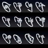 Wholesale wholesale zodiac necklaces - Zodiac silver Female opening CZ Ring European and American retro ring ring couple finger Rings Twelve constellations drop ship 080034